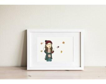 Autumn Girl - Mini Framed Print