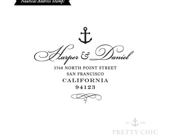 Anchor Address Stamp - Nautical Stamp by Pretty Chic - Custom Stamp - Anchor - Address Stamp - Save the Date Stamp