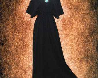 Solid Charcoal Black Gothic Hand Dyed Kimono Dress Casual maxi Dress