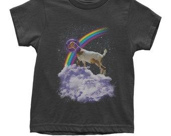 Rainbow Goat On Cloud Youth T-shirt