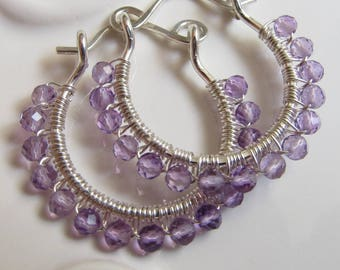 Faceted Amethyst Wire Wrapped Sterling Silver Hoop Earrings Handmade 1 Inch Small Hoops