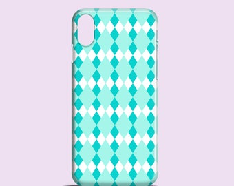 Mint Argyle iPhone X case, teal iPhone 8 case, pastel iPhone 7 case, iPhone SE, iPhone 6S, iPhone 6, iPhone 5S, iPhone 5, Samsung S7
