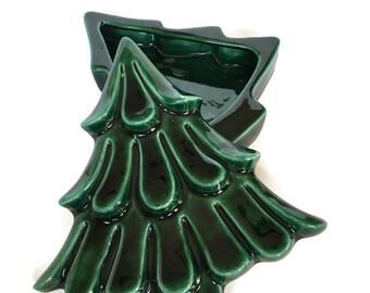 Vintage Christmas Tree trinket dish green ceramic hand painted jewelry holder