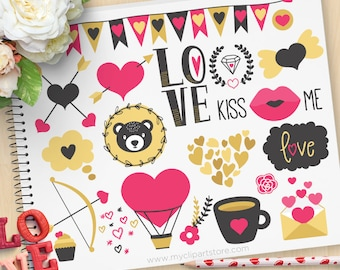 Scandinavian Valentine Bear, Nordic art, Valentine Silhouettes, cupcake, coffee, cupids bow, Commercial Use, Vector clip art, SVG Cut Files