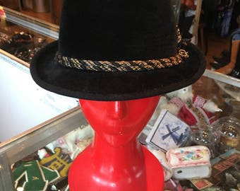 Vintage Black Velour Fedora Hat With Braided Band