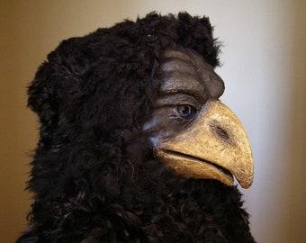 Masquerade mask, Bird Mask, Paper mache mask, Halloween mask, Mardi Gras Mask, Scary mask, Theatre Mask, Face Mask, Animal Mask, Black Mask