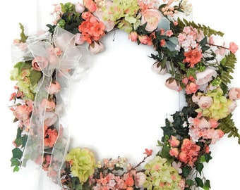 Spring Wreath, Gifts for her, Grapevine Wreath, Peach, Cream, Victorian, Mothers Day Gift, Summer Wreath, Gifts For Her,