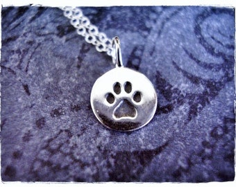 Tiny Silver Paw Print Necklace - Sterling Silver Paw Print Charm on a Delicate Sterling Silver Cable Chain or Charm Only