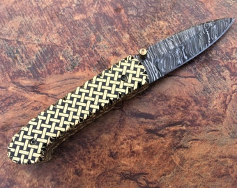 Beautiful Custom Hand Made Damascus Steel Folding Knife