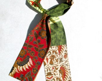 African Scarf, Patchwork Scarf, Ethnic, Tribal, Pieced Scarf, Olive Green, Red, Batik, Scarf For Him, African Print, Cotton Batik, OOAK
