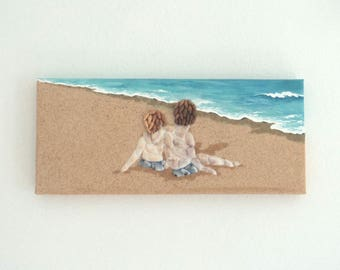 Acrylic Painting, Beach Artwork with Seashells and Sand, Two Boys on the Beach in Seashell Mosaic on Sand, Mosaic Art, 3D Art Collage