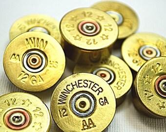 12 gauge brass shotgun bullet shell bezel, polished, pin remains.  20 pack