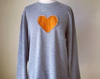 Gray love heart top, Oversize shirt women,Sweatshirt women,Long sleeved top,Boyfriend shirt,Love heart blouse,,Women fashion Blouse,orange