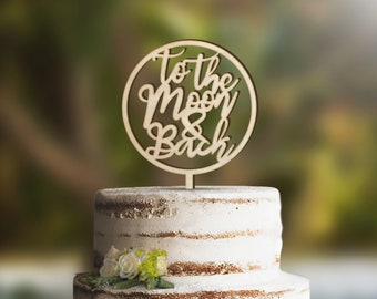 Moon and Back Wedding Cake Topper, available in Gold, Rose Gold, Silver, Black, White, Walnut stain, Navy and Wood CAKETOPPER02