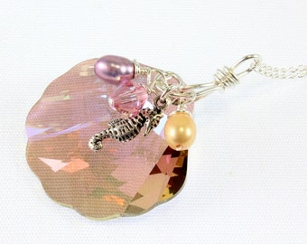 Swarovski Crystal Shell Pendant, Purple Haze, Beach Theme Pendant
