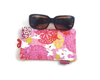 Handmade Quilted Front Cotton Fabric Sunglasses Case With Elastic and Button Closure in Pink Floral Pattern