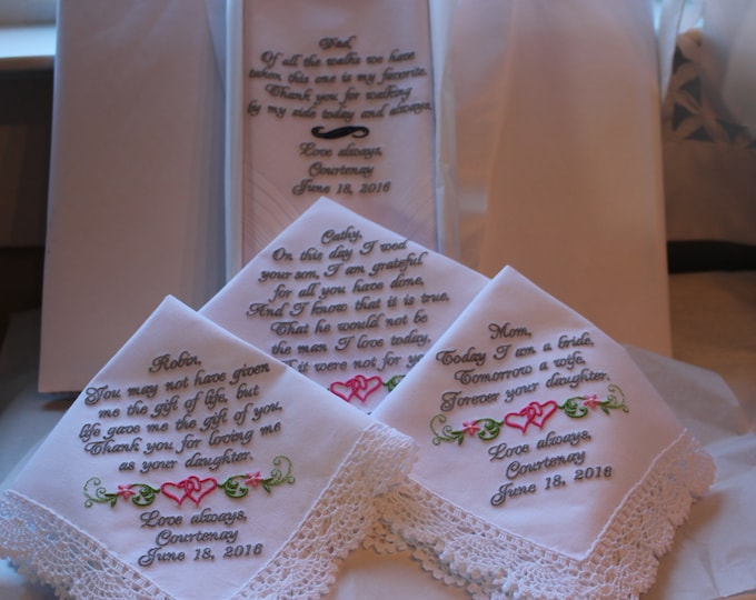 Four White Personalized Wedding Handkerchiefs Father of the Bride, Mother of the Bride, Mother of the Groom and Stepmother