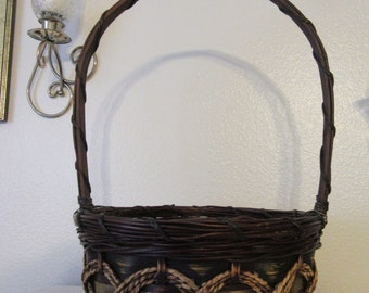 Basket Flower Girl Vintage Fall Basket Gold Accents Country Home Decor Wedding Decor Fall Wedding Gathering Basket Centerpiece Gift Idea