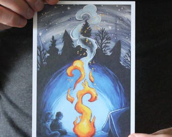 Campfire in the Woods; Fine Art Print