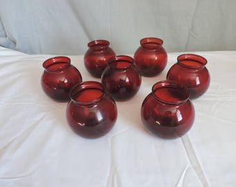Red Glass Candle Holders - Set of 7