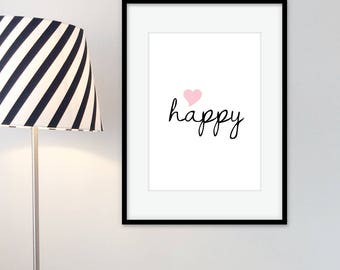 "Art print poster ""happy"" happy"