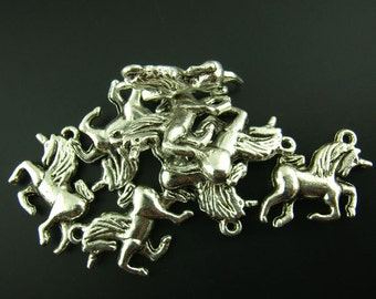 10 Pieces Antique Silver Unicorn Charms