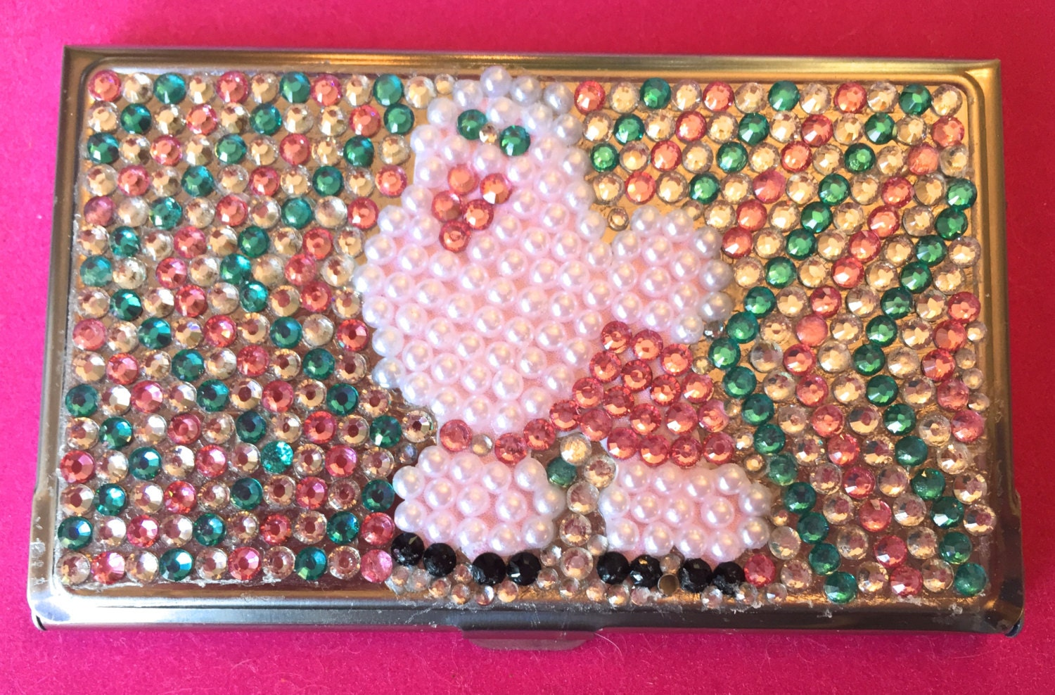 Rhinestone business card holder with poodle design colourmoves