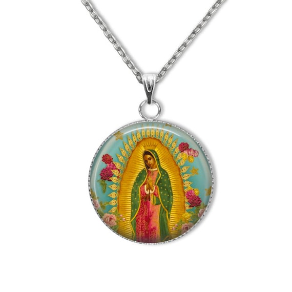 Our Lady of Guadalupe Stainless Steel Pendant with 18 or 24 inch chain - Blessed Virgin Mary Necklace, Catholic Jewelry