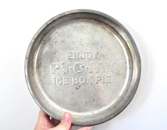 Vintage Py-O-My Metal Pie Plates Ice Box Pie Pan Set of Four Aluminum Baking Pan Vintage Food Advertising from HedgehogAndOwl on Etsy Studio  sc 1 st  Etsy Studio & Vintage Py-O-My Metal Pie Plates Ice Box Pie Pan Set of Four ...