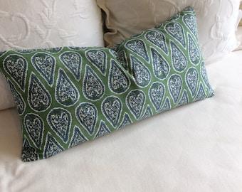 Anya kelly green lumbar Bolster Pillow 13x26 insert included
