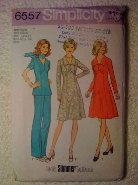 Misses and Womans Dress or Top and Pants a Look Slimmer Pattern Simplicity Sewing Pattern 6557 70s Size 10-12