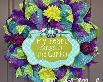 Garden Wreath, My Heart Sings in The Garden Purple and Lime Green Deco Mesh Wreath, Floral Wreath