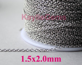 Strong Fine Delicacy Soldered Closed Brass Chain 1.5x2mm Platinum Plated Oval Cable Cross Link Chain-12ft