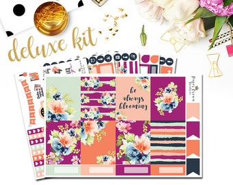 BLOOMING Deluxe/Weekly Planner Sticker Kit/Planner Stickers for use with Erin Condren Life Planner/Floral Sticker Set/Spring Stickers
