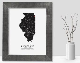 Illinois Map State of Illinois Wall Art Frame Canvas Guest Book Print Illinois Wedding Gift Illinois Love Night Sky Star Chart Constellation