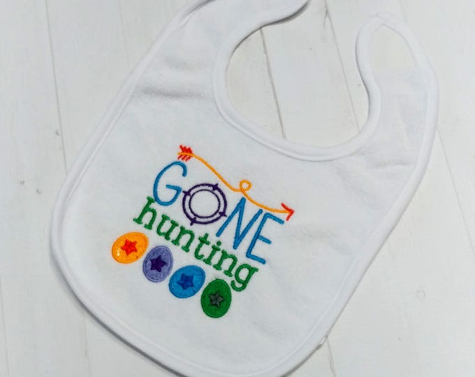 Gone hunting Easter embroidered Koala Baby cloth baby bibs for 6-12 month old boys and girls