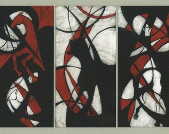 4 Horseman of the Apocalypse and Christ on the White Horse.  5 Original Mixed Media Panels