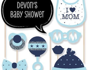 20 Boy Baby Shower Photo Booth Props - Hello Little One - Blue and Silver - Kit with Mustache, Hat, Bow Tie, Glasses and Custom Talk Bubble