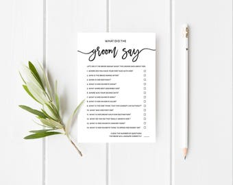 What Did the Groom Say Game | Editable | Printable Wedding Shower Game | Wedding Shower Template | Instant Download | 5x7"