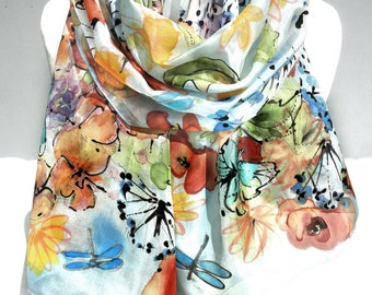 Hand Painted Scarf. Colorful Floral Silk Scarf Multicolor Birthday Gift for Her Genuine Silk Art Floral Anniversary Gift 18x71in MADEtoORDER