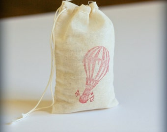 Vintage Hot Air Balloon 6 circus carnival muslin cotton favor bag with stamp gift sack party wedding adventure birthday aviation