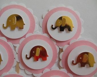 Elephant Cupcake Toppers - Pink and Gold - Girl Baby Shower Decorations - Girl Birthday Decorations - Set of 12