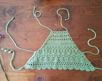 CalleyCoastal Triple Tie Mixed Stitch Crochet Halter Tops size small