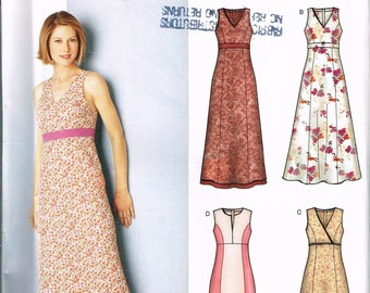 Size 8-18 Misses' Dress Pattern - Empire Waist V Neck Dress - Sleeveless Dress Pattern - A Line Long Dress Pattern -  New Look 6243