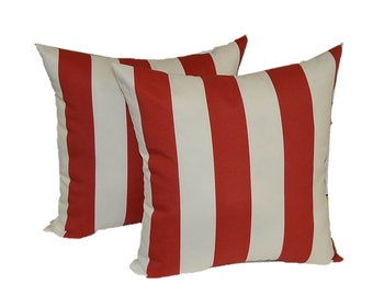 """SET OF 2 ~  20"""" Red and White Stripe Nautical Decorative Throw Pillows ~ Indoor / Outdoor Fabric"""