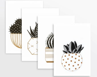 Cactus prints in gold & black (set of four A5) risograph printed