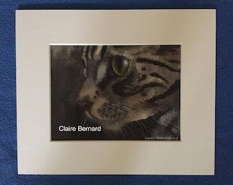 Print from an original watercolour painting - Tabby cat - fine art