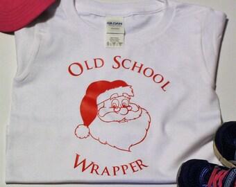Old School Wrapper - Funny Christmas Shirt - Santa Claus - Kids Unisex Bodysuit/ Shirt - Santa - holiday - Christmas- Wrapper-Christmas Gift