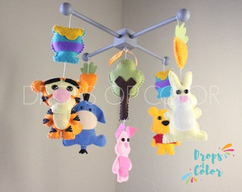 Baby Mobile, Baby Crib Mobile, Winnie The Pooh Mobile, Nursery Decor Disney Nursery Book, Winnie The Pooh & Tigger, Wood Forest Mobile