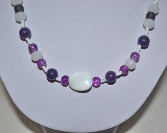 Purple and white necklace with Amethyst beads